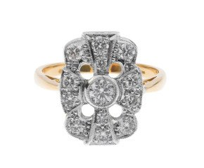 18ct Yellow Gold 0.67ct Diamond Cluster Ring
