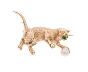 9ct Gold Emerald & Pearl Cat Brooch