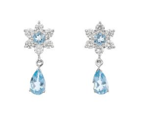 18ct White Gold 1.84ct Aquamarine & 1.18ct Diamond Drop Earrings
