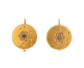 Antique 22ct Gold Split pearl & Diamond Drop Earrings