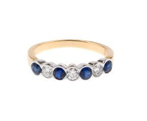 18ct Gold 0.59ct Sapphire & Diamond Half Eternity Ring
