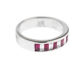 18ct White Gold 0.73ct Baguette Cut Ruby & Diamond Eternity Ring