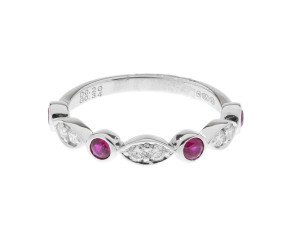 18ct White Gold 0.34ct Ruby & Diamond Half Eternity Ring