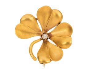 Antique 18ct Gold Pearl Four Leaf Clover Brooch