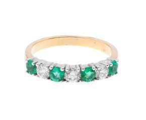 18ct Gold 0.50ct Emerald & Diamond Half Eternity Ring