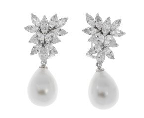 Silver Rhodium Plated 14mms Shell Pearl & Cubic Zirconia Fancy Earrings