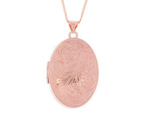 9ct Rose Gold Decorative Oval Locket
