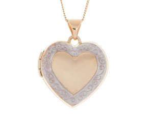 9ct Yellow & White Gold Heart Locket