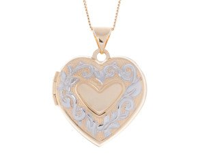 9ct Yellow & White Gold Family Heart Locket