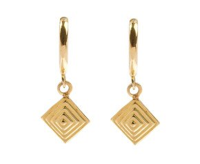 9ct Yellow Gold Pyramid Drop Earring