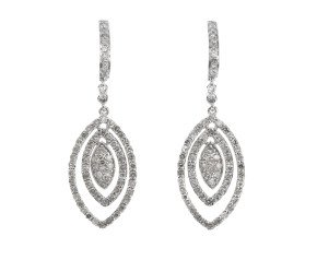 9ct White Gold 1ct Diamond Drop Earrings
