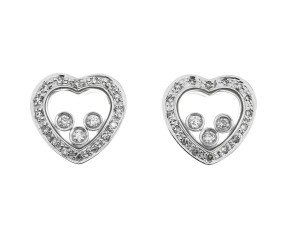 9ct White Gold Floating 0.35ct Diamond Heart Earrings
