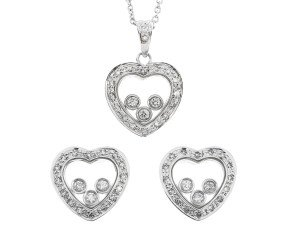 Valentines Special 9ct White Gold Floating 0.50ct Diamond Heart Pendant & Earrings Set