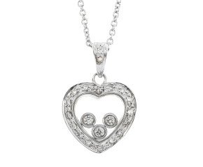 9ct White Gold Floating 0.17ct Diamond Heart Pendant