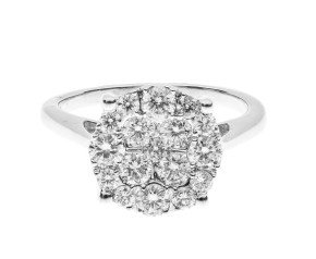 18ct White Gold 1ct Diamond Cluster Ring