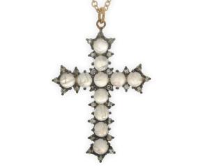 Moonstone & Diamond Cross Pendant