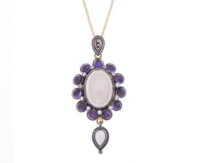 Moonstone, Amethyst & Diamond Pendant