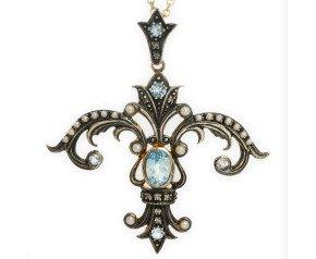 Topaz, Seed Pearl & Diamond Fleur De Lis Pendant