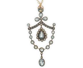 Topaz, Seed Pearl  & Diamond Garland Pendant