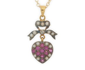 Ruby, Seed Pearl & Diamond Pendant