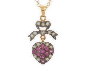Ruby, Seed Pearl & Diamond Pendant