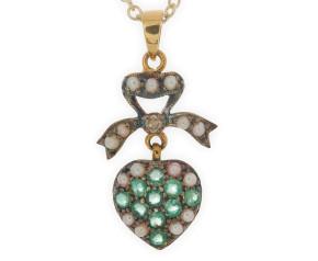 Emerald, Seed Pearl & Diamond Pendant