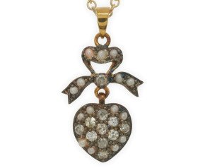 Diamond & Seed Pearl Heart Pendant