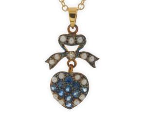 Sapphire, Seed Pearl & Diamond Pendant