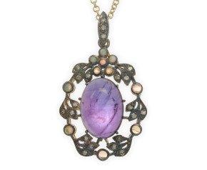 Amethyst, Opal & Diamond Pendant
