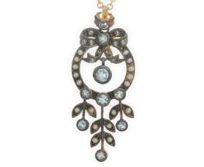 Topaz, Diamond & Pearl Pendant