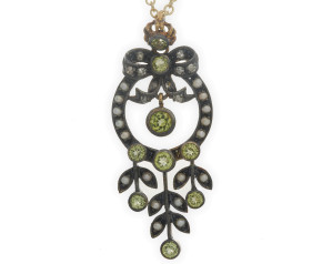 Peridot, Seed Pearl & Diamond Pendant