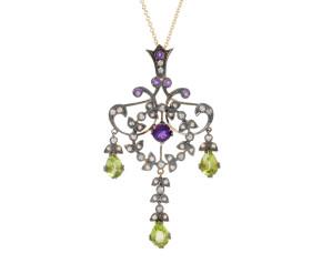Amethyst, Peridot, Seed Pearl & Diamond Pendant
