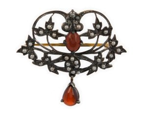 Garnet, Seed Pearl & Diamond Brooch