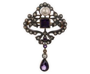 Pearl, Amethyst & Diamond Brooch