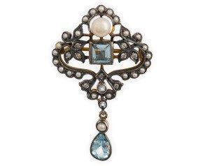 Pearl, Topaz & Diamond Brooch