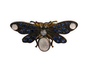 Moonstone, Sapphire & Diamond Bee Brooch