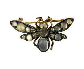 Moonstone & Diamond Bee Brooch