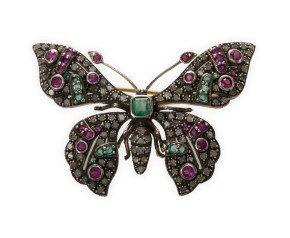 2.00ct Diamond, Emerald & Ruby Butterfly Brooch