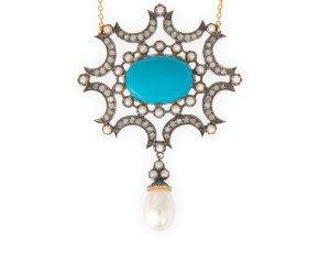 Turquoise, Pearl & Diamond Necklet