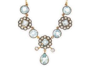 Topaz, Seed Pearl & Diamond Necklet