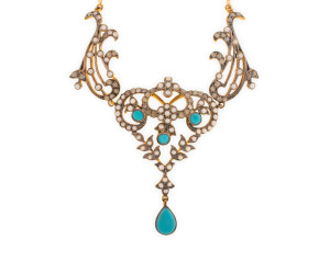 Turquoise, Seed Pearl & Diamond Necklet