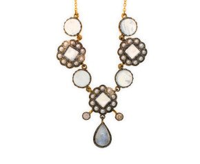 Moonstone, Seed Pearl & Diamond Necklet