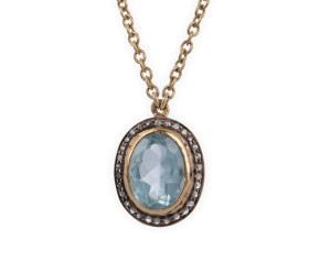 2.50ct Aquamarine & Diamond Necklet