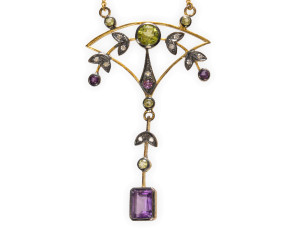 Amethyst, Peridot & Diamond Necklace