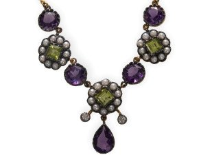 Amethyst Peridot Seed Pearl & Diamond Necklace