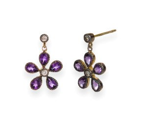 Georgian Inspired Amethyst & Diamond Flower Drop Earrings
