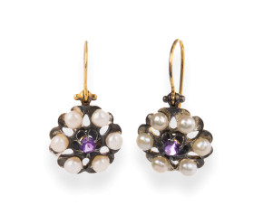 Pearl & Amethyst Cluster Drop Earrings