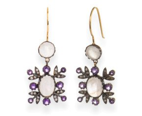 Edwardian Inspired Moonstone, Amethyst & Diamond Drop Earrings