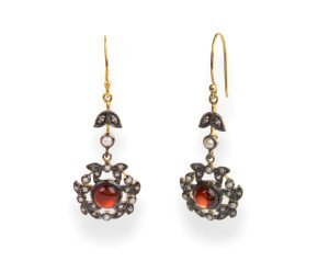 Victorian Inspired Garnet, Diamond & Seed Pearl Drop Earrings
