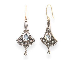 Edwardian Inspired Topaz & Diamond Drop Earrings